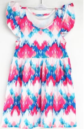 Natopia Hot Summer Day Flutter Sleeve Dress Kids Medium (6-8 Years)