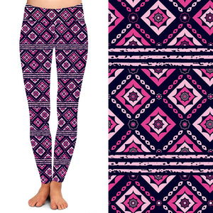 Natopia Deluxe Pink Tiles Leggings Curvy Plus Size Fits 16-20