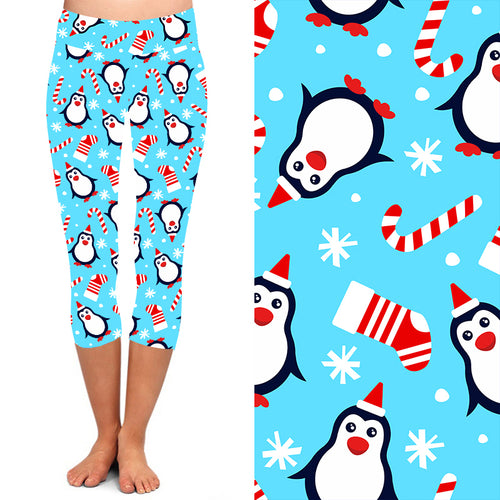 PRE-ORDER Natopia Deluxe Polly The Jolly Penguin Capri Leggings Extra Curvy Plus Size Fits 22-26