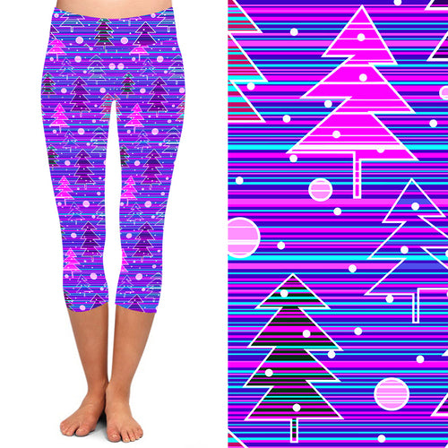 PRE-ORDER Natopia Deluxe Purple Christmas Haze Capri Leggings Plus Size Fits 16-20