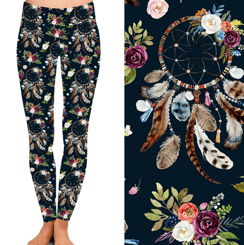 Natopia Deluxe Flowers and Dreamcatchers Leggings One Size Fits 8-14