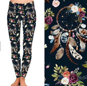 Natopia Deluxe Flowers and Dreamcatchers Leggings Curvy Plus Size Fits 16-20