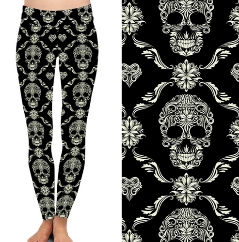 Natopia Deluxe Skulls Of Elegance Leggings Curvy Plus Size Fits 16-20