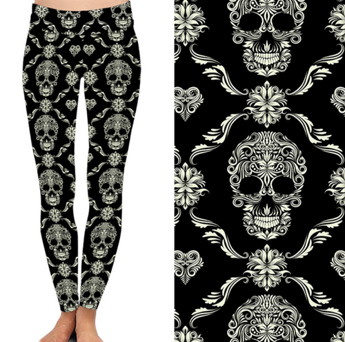 Natopia Deluxe Skulls Of Elegance Leggings One Size Fits 8-14