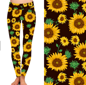 Natopia Deluxe Sunflower Leggings Curvy Plus Size Fits 16-20