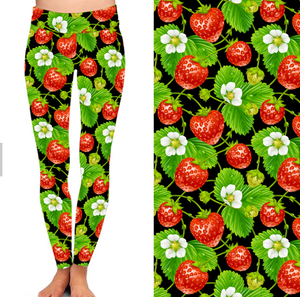 Natopia Strawberry Fields Leggings Curvy Plus Size Fits 16-22
