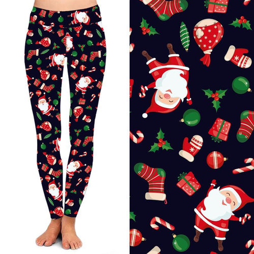 Natopia Deluxe Jolly Santa Leggings Plus Size Fits 16-20