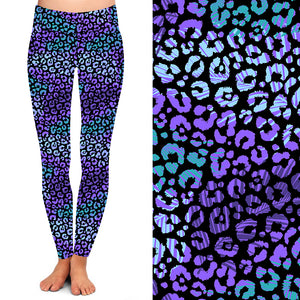 Natopia Deluxe Turquoise Purple Leopard Leggings One Size Fits 8-14