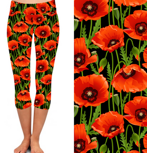 Natopia Deluxe Red Poppy Capri Leggings One Size Fits 8-14
