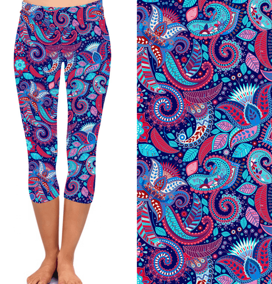 Natopia Deluxe Paisley Pop Capri Leggings One Size Fits 8-14