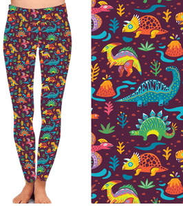 Natopia Deluxe All The Dinosaurs Leggings Curvy Plus Size Fits 16-20
