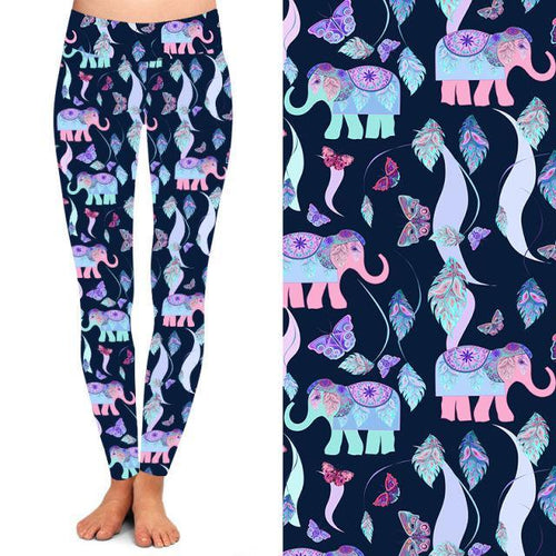 Natopia Deluxe Exquisite Elephant Leggings Curvy Plus Size Fits Size 16-20