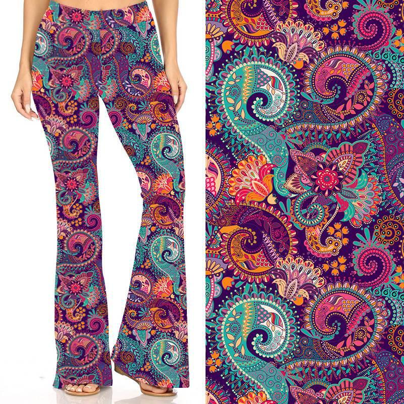 Natopia Deluxe All The Paisley Bell Bottoms One Size Fits 8-14
