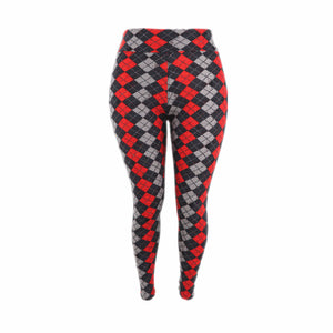 Natopia Super Soft Diamond Checkered Leggings Extra Curvy Fits 22-28