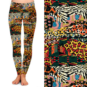 Natopia Deluxe Tigers and Lions and Leopards Oh My Leggings Extra Curvy Fits Size 22-26