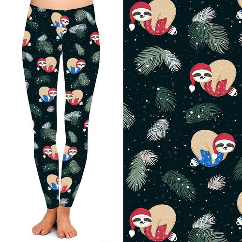 Natopia Deluxe Merry Slothmas Leggings One Size Fits 8-14