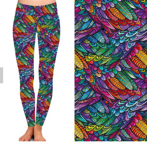 Natopia Deluxe Rainbow Feathers Leggings Curvy Plus Size Fits 16-22