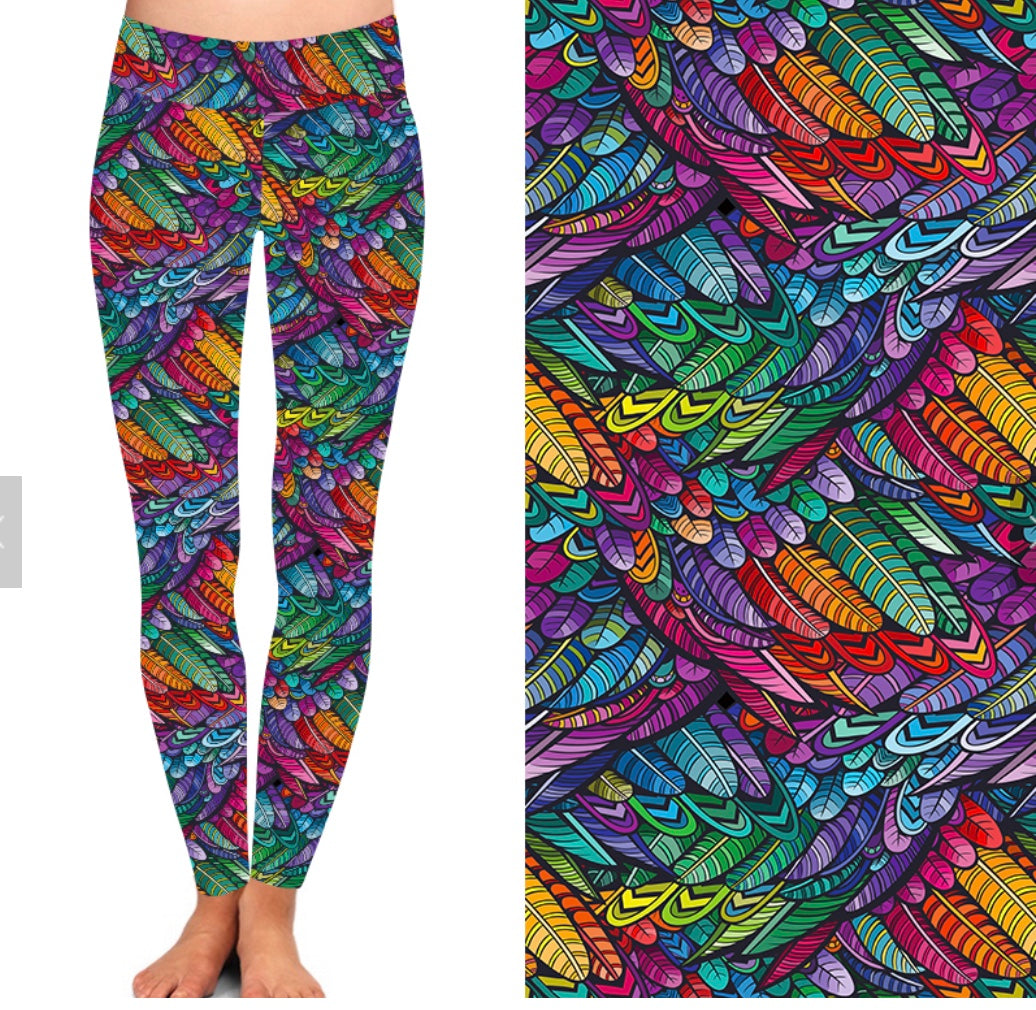 Natopia Deluxe Rainbow Feathers Leggings Curvy Plus Size Fits 16-20