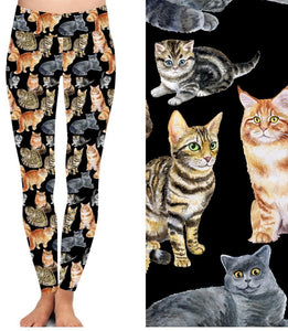 Natopia Deluxe Crazy Cat Lady Leggings Plus Size Fits 16-22