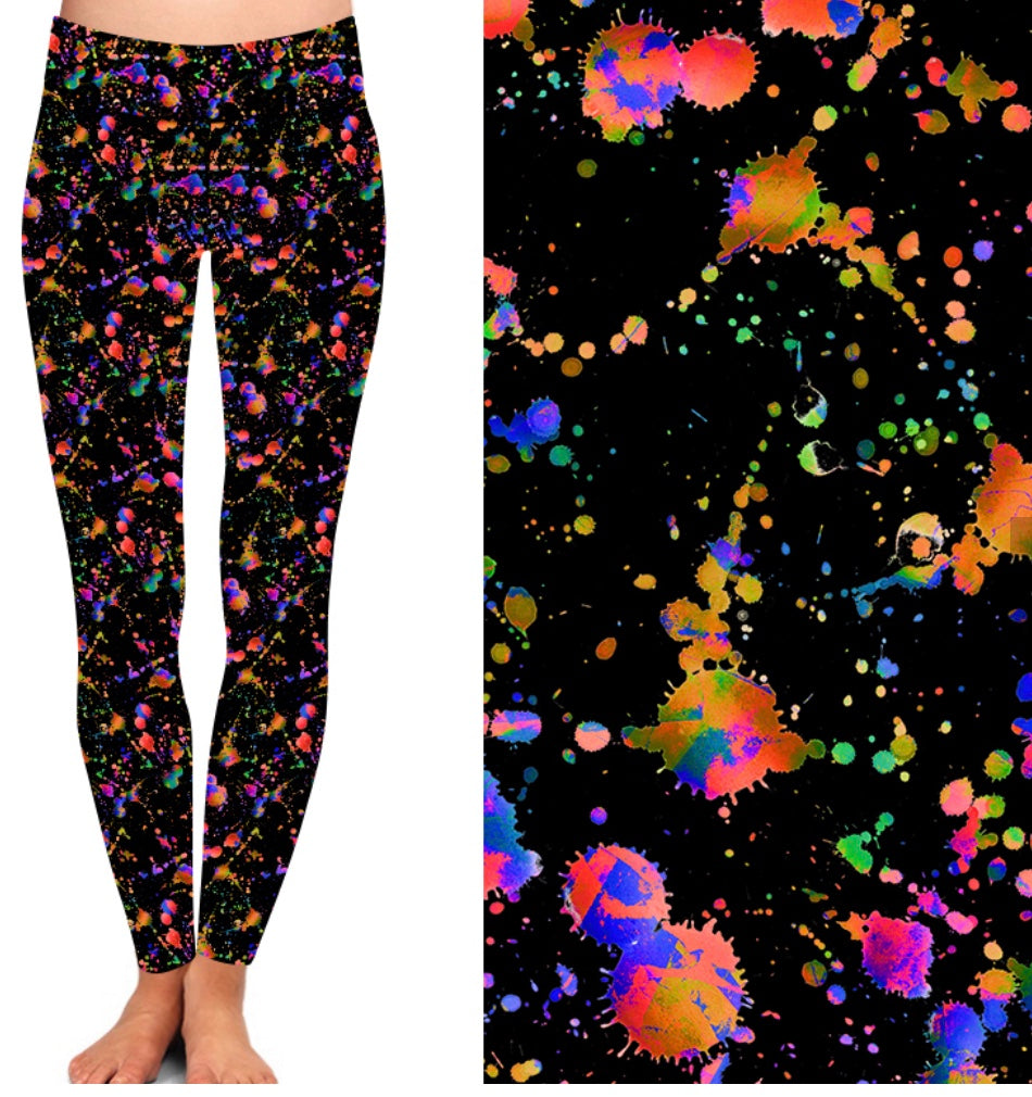 Natopia Deluxe Splats on Black Leggings One Size Fits 8-14