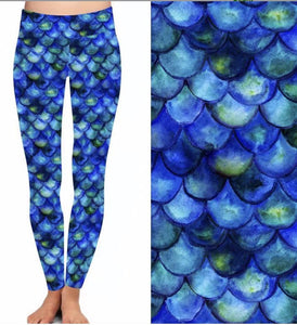 Natopia Deluxe Mermaid Blues Leggings One Size Fits 8-14