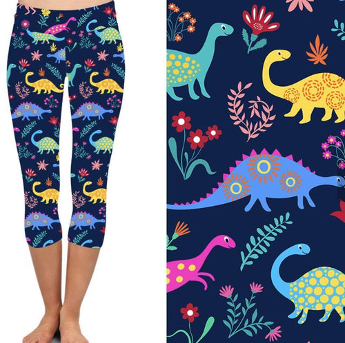 Natopia Deluxe Happy Dinosaur Capri Leggings Plus Size Fits 16-20