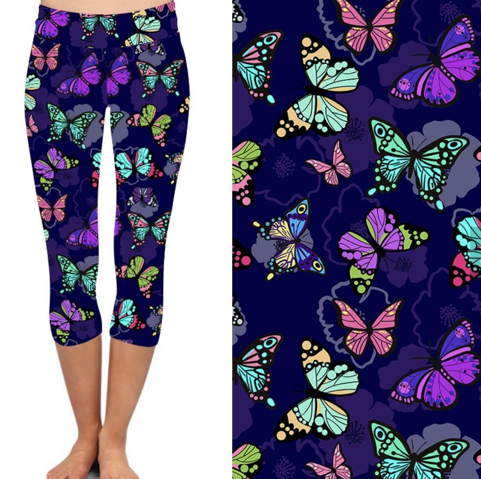 Natopia Deluxe Butterfly Abandonment Capri Leggings Plus Size Fits 16-22