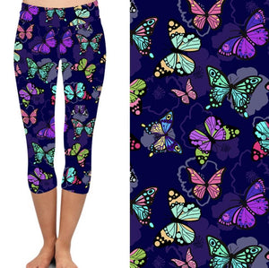 Natopia Deluxe Butterfly Abandonment Capri Leggings One Size Fits 8-14