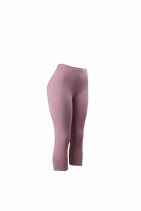 Natopia Plain Colour Lilac Capri 3/4 Leggings Elastic Waist One Size Fits 8-14