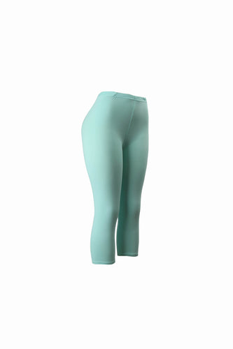 Natopia Plain Colour Spearmint Capri 3/4 Leggings Elastic Waist One Size Fits 8-14