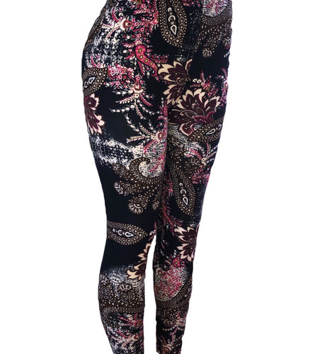 Natopia Paisley Blossoms Leggings Plus Size Fits 16-22