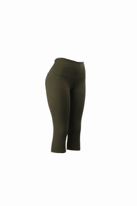 Natopia Plain Colour Olive Capri 3/4 Leggings Yoga Waist One Size Fits 8-14