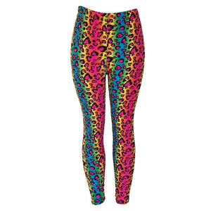 Natopia Rainbow Leopard Leggings Curvy Plus Size Fits 16-22