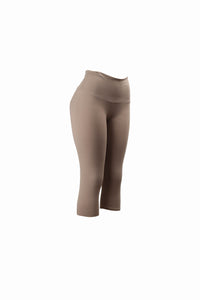 Natopia Plain Colour Mocha Capri 3/4 Leggings Wide Yoga Waist One Size Fits 8-14