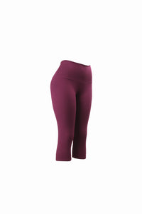 Natopia Plain Colour Burgundy Capri 3/4 Leggings Yoga Waist One Size Fits 8-14