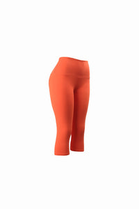 Natopia Plain Colour Coral Capri 3/4 Leggings Wide Yoga Waist One Size Fits 8-14