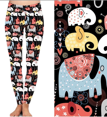 Natopia Deluxe Elephant Joy Leggings Curvy Plus Size Fits 16-20