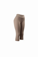 Natopia Plain Colour Mocha Capri 3/4 Leggings Yoga Waist One Size Fits 8-14