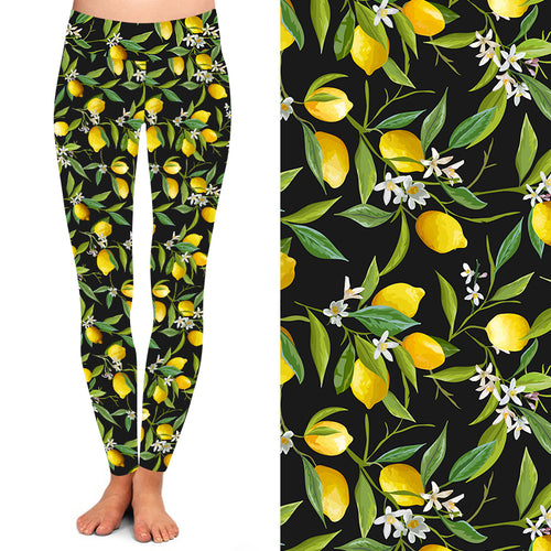 Natopia Deluxe When Life Gives You Lemons Leggings Curvy Plus Size fits 16-20