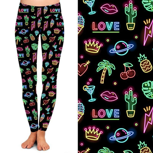 Natopia Deluxe Neon Nights Leggings Curvy Plus Size Fits 16-20