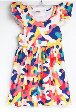 Natopia Paint Party Flutter Sleeve Dress Kids Medium (6-8 Years)