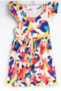 Natopia Paint Party Flutter Sleeve Dress Kids Small (4-6 Years)