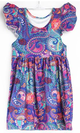 Natopia Paisley Flutter Sleeve Dress Kids Medium (6-8 Years)