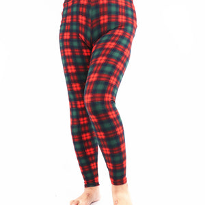 Natopia Super Soft Christmas Cheque Leggings Plus Size Fits 16-22