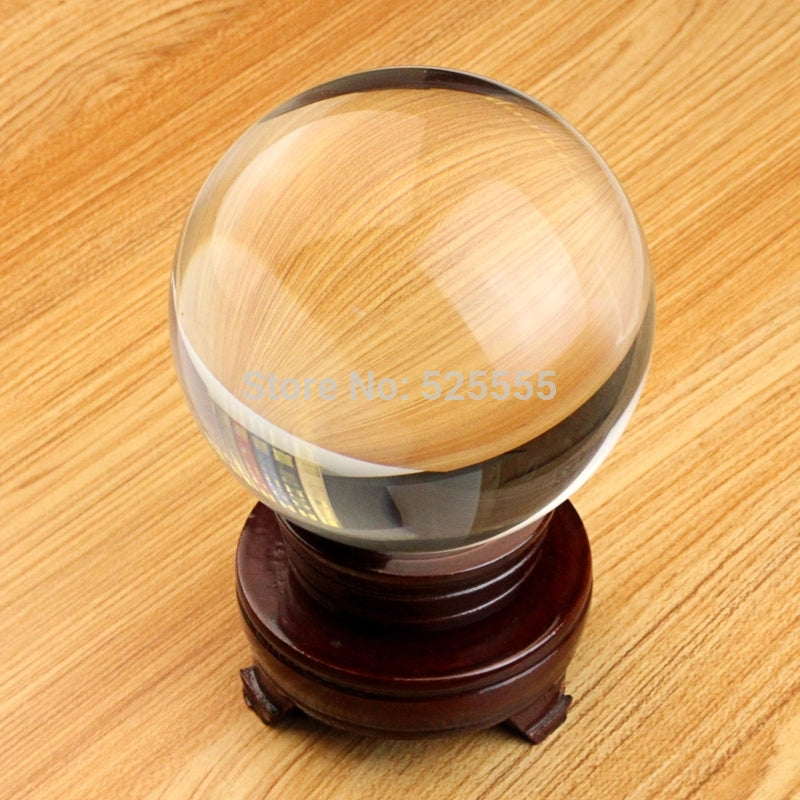QUARTZ ultra Clear 80mm crystal ball with wood base