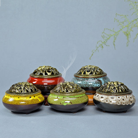 incense burner ceramic gold  antique incense burner