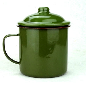old China Army Green vintage Enamel Mug