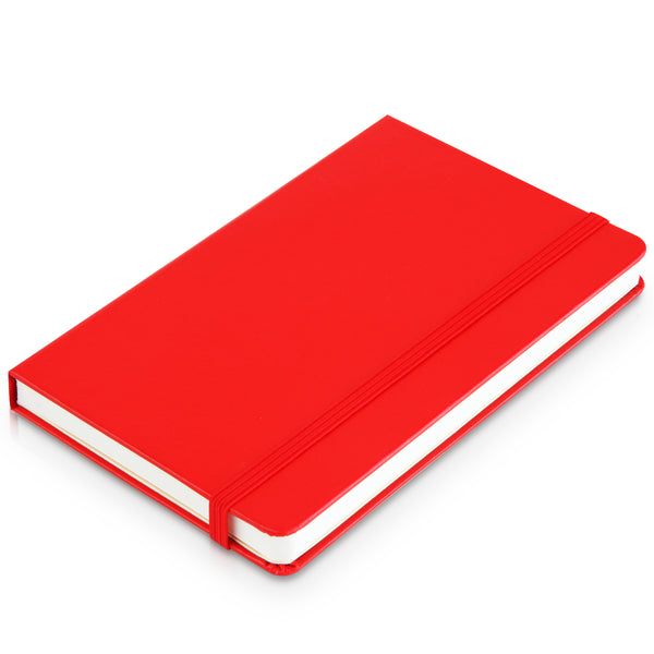 A6 pocket notebook - lined, with pocket in back, 98pgs black or Red