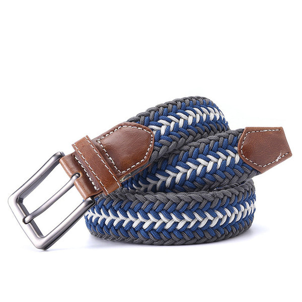 Men's Leather, Braided Elastic Belt