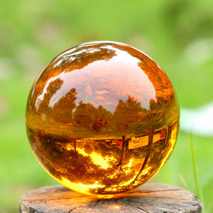 Natural Quartz Amber Crystal Ball with base